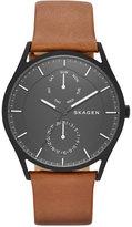 Skagen Men's Dark Brown Leather Strap Watch 40mm SKW6347