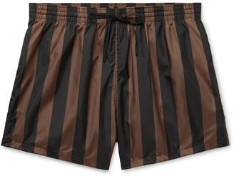 Fendi Slim-Fit Mid-Length Logo-Print Striped Swim Shorts