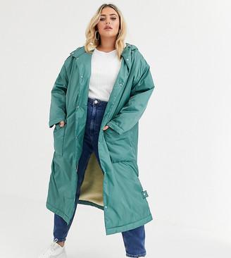 ASOS DESIGN Curve maxi fleece lined rainwear coat in sage