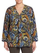 Lafayette 148 New York, Plus Size Libby Silk Paisley-Print Blouse