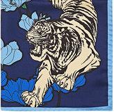 Barneys New York Men's Tiger- & Flower-Print Silk Pocket Square