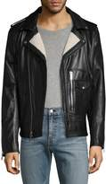 Karl Lagerfeld Men's Asymmetrical Leather Moto Jacket