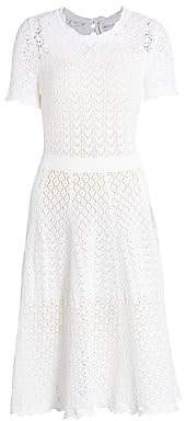 Carolina Herrera Women's Lace-Eyelet Short-Sleeve Fit-&-Flare Dress