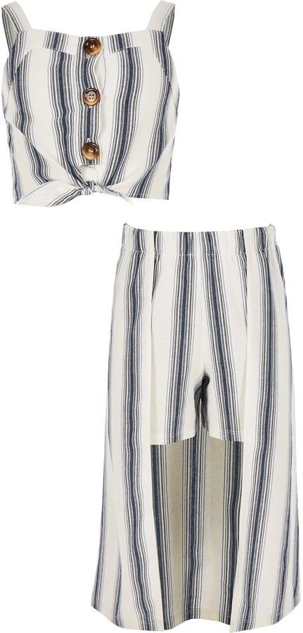 River Island Girls Blue stripe crop top and skort outfit