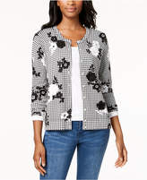 Charter Club Printed Appliquéd Cardigan, Created for Macy's
