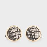Paul Smith Men's Gold Crocodile Skin Pattern Circular Cufflinks