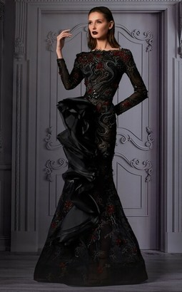 MNM Couture Black Front Ruffled Detail Gown