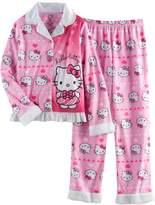 Hello Kitty Girls 4-12 Button-Front Top & Bottoms Pajama Set