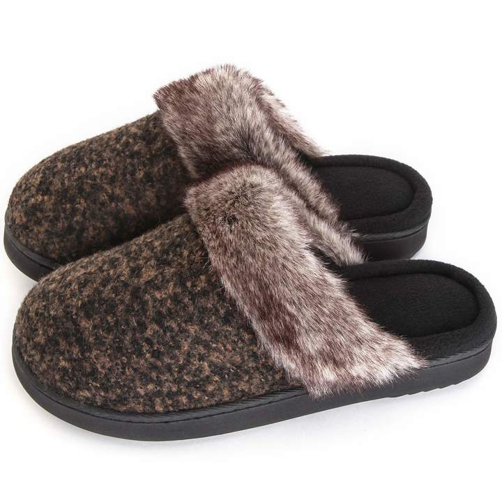 86ad2f21a4511 ULTRAIDEAS Women's Comfort Memory Foam Slippers Wool Blend Fuzzy Coral  Fleece Lined Slip on House Shoes with Indoor Outdoor Anti-Skid Rubber Sole