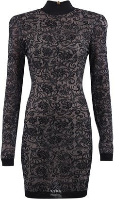 Balmain Lace Long-Sleeve Mini Dress