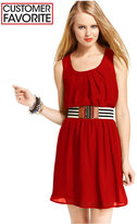 Amy Byer Juniors' Belted A-Line Dress