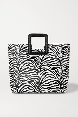 STAUD Shirley Leather-trimmed Zebra-print Calf Hair Tote - Zebra print