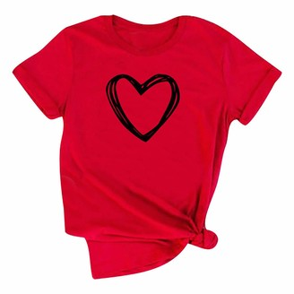 Beetlenew Womens Blouses Women's Graphic T-Shirt Plus Size Summer Casual Funny Heart Printed Tops Round Neck Short Sleeve Basic Tee Shirts for Lady Going Out Clothing Blouse for Valentine's Day Party Gift Red
