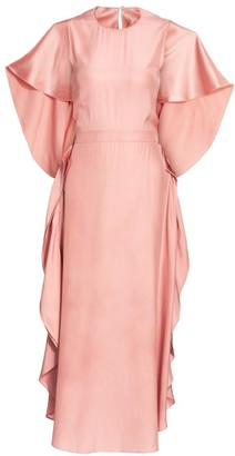 Stella McCartney Rosa Flutter Silk Midi Dress