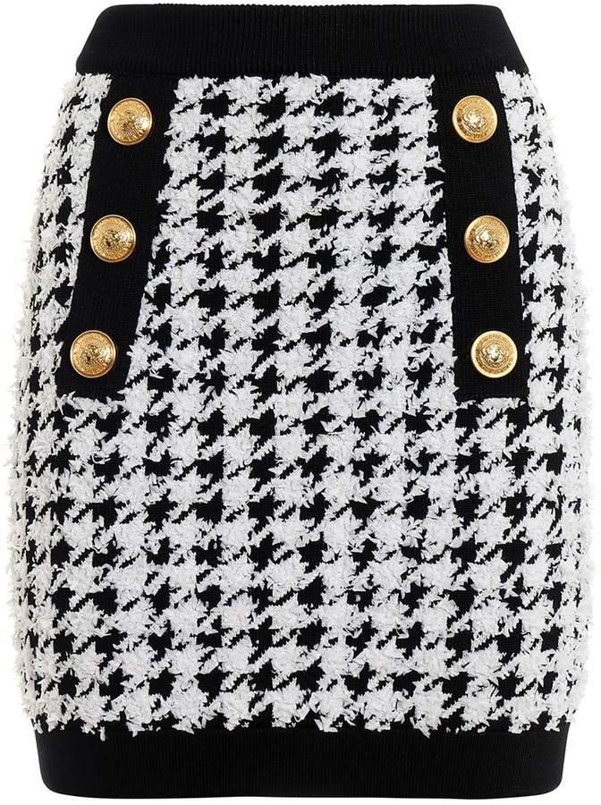 Balmain Houndstooth Stretch Jersey Mini Skirt