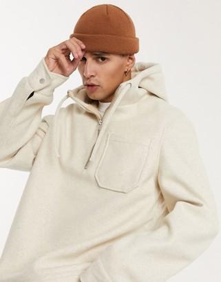 ASOS DESIGN wool mix pull-on jacket in ecru