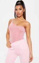 Top Light Pink Textured Glitter Strappy One Shoulder Bodysuit