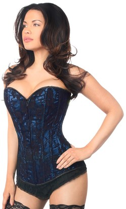 DaisyCorsets Women's Plus Size Lavish Blue Lace Front Zipper Corset 5X