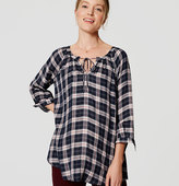 LOFT Maternity Plaid Peasant Blouse