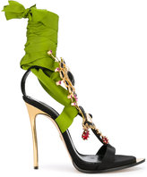 DSQUARED2 embellished Treasure sandals - women - Silk/Goat Skin/Leather/Viscose - 38