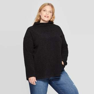 Ava & Viv Women's Plus Size Long Sleeve Mock Turtleneck Sherpa Pullover - Ava & VivTM
