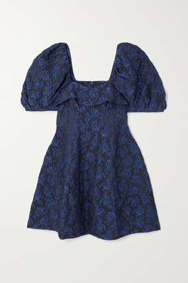 Simone Rocha Ruffled Cloque Mini Dress - Navy
