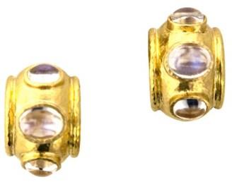 Elizabeth Locke Stone Hammered 19K Yellow Gold & Moonstone Large Earrings