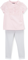 U.S. Polo Assn. Pink & Gray Chevron Short-Sleeve Top & Pants - Infant & Toddler