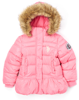 U.S. Polo Assn. Medium Pink Faux Fur-Trim Hooded Puffer Coat - Girls