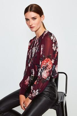 Karen Millen Rose Print Pintuck Blouse