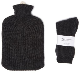 Johnstons of Elgin Cashmere Hot Water Bottle Cover And Socks Set - Dark Grey