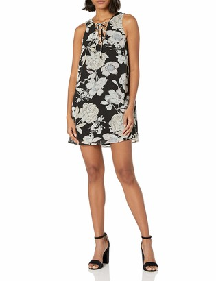 Lucca Couture Women's Floral Print Lace Up Mini Dress