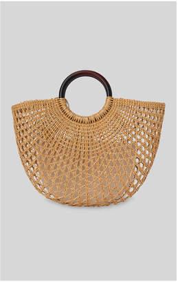Whistles Eldon Wooden Handle Rattan Bag