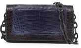 Nancy Gonzalez Medium Colorblock Crocodile Shoulder Bag, Dark Blue