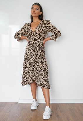 Missguided Stone Leopard Wrap Ruffle Tea Dress