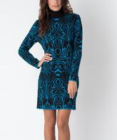 Yuka Paris Black & Turquoise Turtleneck Sweater Dress