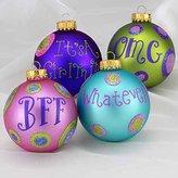 "Kurt Adler 4ct Tween Christmas Polka Dot Trendy Lingo Glass Ball Ornaments 3.25"" (80mm)"