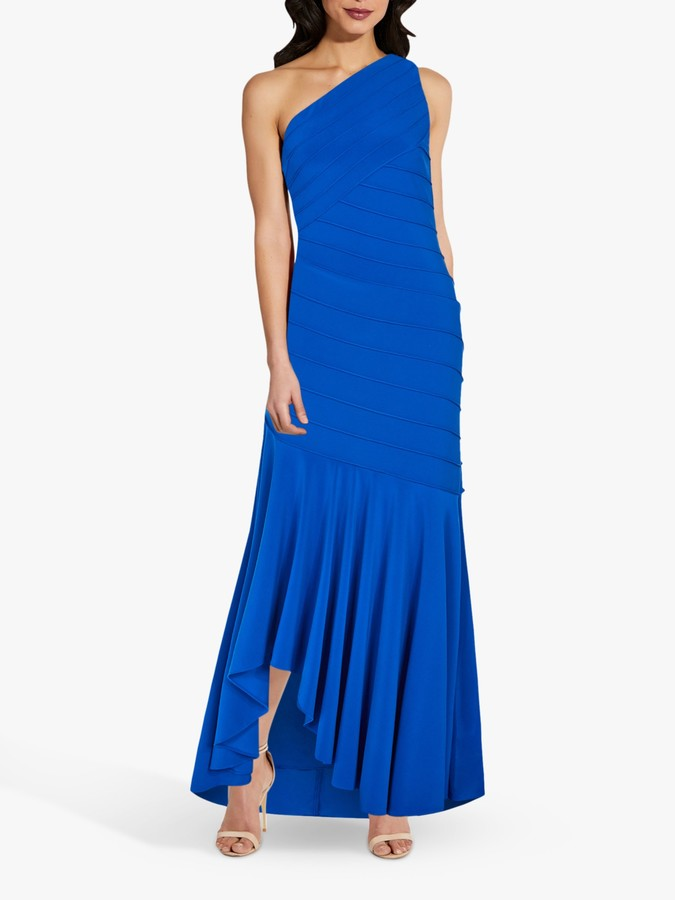 Adrianna Papell Pintuck One Shoulder Gown, Sapphire Blue