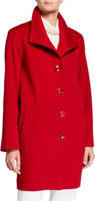 Sofia Cashmere Drop-Shoulder Single Breasted Pea Coat