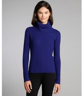 Magaschoni royal blue long sleeve cable knit cashmere turtleneck sweater