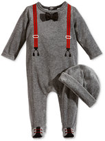First Impressions Baby Boys' 2-Pc. Velour Hat & Tuxedo Footed Coverall Set, Only at Macy's