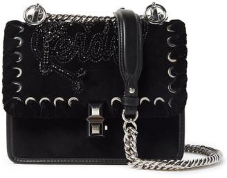 Fendi Kan I Small Leather-paneled Embellished Velvet Shoulder Bag