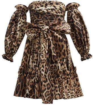 Dolce & Gabbana Leopard-print Off-the-shoulder Silk Mini Dress - Womens - Leopard