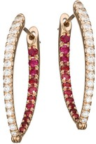 Melissa Kaye Cristina 18K Rose Gold, Diamond & Ruby Medium Hoop Earrings