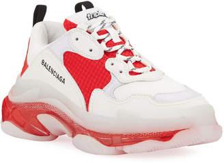 Balenciaga Men's Triple S Clear-Sole Multi-Color Sneakers