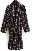 Classic Men's Plaid Print House Robe in 100 % Polyester soft fleece Blk/Red