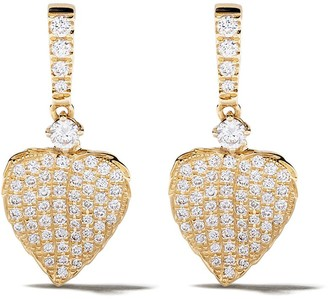 Kiki McDonough 18kt yellow gold Lauren diamond pave mini leaf earrings