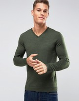 Selected Homme Merino Wool V Neck Jumper
