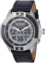 Versus By Versace Men's 'ADMIRALTY' Quartz Stainless Steel and Leather Casual Watch, Color:Beige (Model: VSP380117)