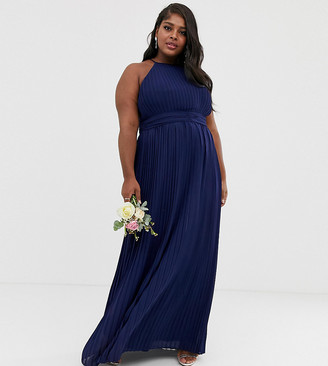 TFNC Plus bridesmaid exclusive high neck pleated maxi dress in navy